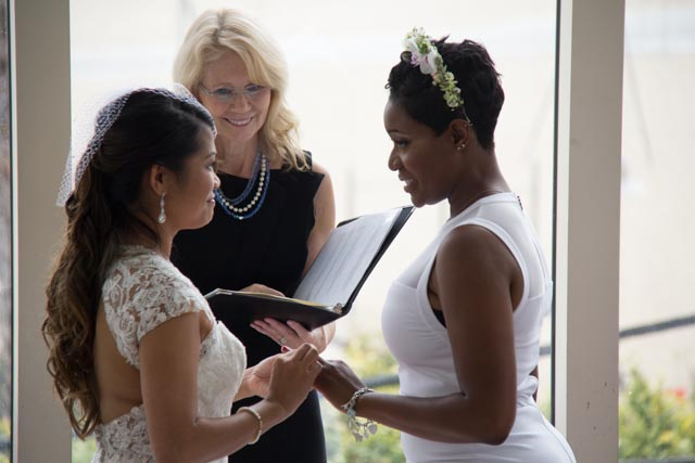 Joann Lane officiating wedding of Remi and Rowena Santa Monica CA